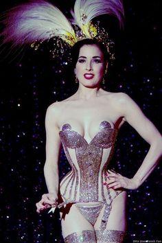 Dita von Teese wearing a Mr. Pearl corset covered in Swarovski…