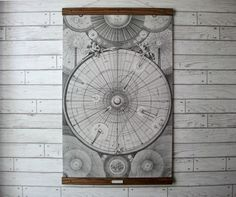 """Large Canvas School Chart Vintage Pull Down Style with Oak Wood Poster Print Hanger - Celestial Map (24.5"""" x38"""")"""