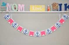Nautical Banner  Navy & Pink  Nautical Birthday by JKreations2013, $18.50