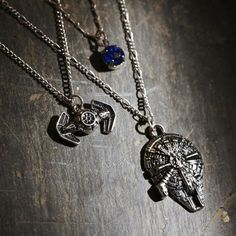 Galaxy goals // Star Wars Millennium Falcon Tie Fighter Long Layered Necklace