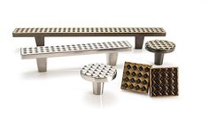 Argyle Collection, designed by Du Verre co-founder Gina Lubin, is all about texture and offered in three finishes and four sizes. Cabinet Decor, Cabinet Knobs, Cabinet Hardware, Kitchen Hardware, Furniture Hardware, Knobs And Pulls, Fine Furniture, Chrome Finish, Polished Nickel