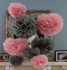 30 Tissue Pom Poms - Your Color Choice- SALE - Pink and Gray Baby shower decorations love the colors together for a girl. Baby Shower Parties, Baby Shower Themes, Baby Shower Gifts, Sweet Sixteen, Diy Baby Shower Centerpieces, Diy Centerpieces, Baby Elefante, Tissue Pom Poms, Tissue Paper