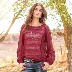 """SEDONA PULLOVER--A beautiful, easy-fit expression in pieced pointelle openwork stitching with delicate picot edging. Exposed tubular seaming and hi-lo hem. Linen. Hand wash. Imported. Exclusive. Sizes XS (2), S (4 to 6), M (8 to 10), L (12 to 14), XL (16). Front approx. 22-1/2""""L, back approx. 25-1/2""""L."""