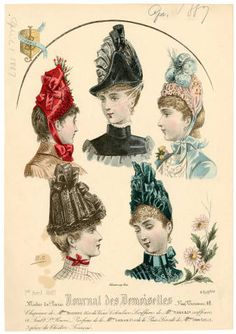 Headgear 1860-1921, Plate 147. Fashion plates, 1790-1929. The Costume Institute Fashion Plates. The Metropolitan Museum of Art, New York. Gift of Woodman Thompson (b17509853) | Headgear from 1887. #fashion