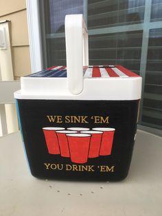 We sink 'em, you drink 'em cooler Painted Fraternity Coolers, Frat Coolers, Painted Coolers, Nola Cooler, Beer Cooler, Formal Cooler Ideas, Cooler Designs, Beer Pong Tables, Cooler Painting