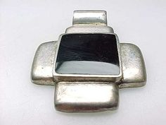 Vintage Genuine BLACK ONYX and STERLING Silver Pendant | quadrina - Jewelry on ArtFire
