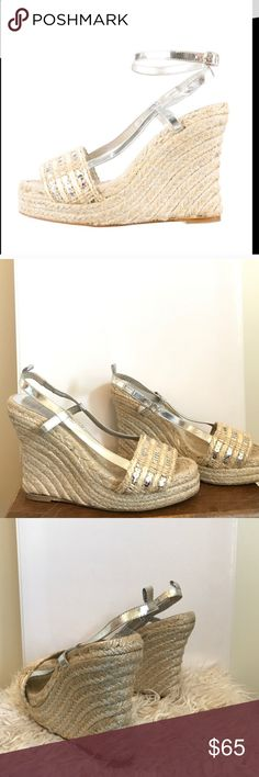 Kate spade New York espadrille wedges Sz 7 sequin Up for sale is the Kate Spade New York sandals. feature sequins and silver metallic threads throughout. Also, it has a silver adjustable ankle strap buckle for a secure fit and wedge high heels with a 3/4 platform. They will definitely upgrade your fashion status. The size is 10 B, and the measurements are as follows: Length: 10 inches Fabric: Leather Sole Heel Height: 4 inches Width: 3 inches ` There is normal wear on the soles, and these…