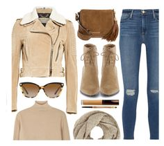 """""""Fall Look"""" by monmondefou ❤ liked on Polyvore featuring Frame Denim, John Lewis, Burberry, MICHAEL Michael Kors, Boutique Moschino, Versace, Becca, Lancôme, Fall and brown"""