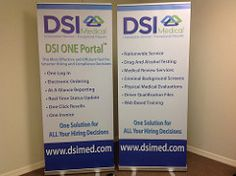 "33.5"" x 78"" Retractable Banner Stand for DSI Medical.  www.pinnaclesignworks.com  407-322-7733  FREE ESTIMATES!"