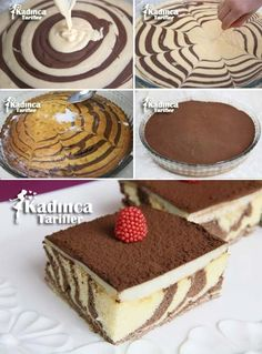 - Muhallebili Zebra Kek Tarifi, Nasıl Yapılır Zebra Cake Recipe with Custard Cookie Recipes, Dessert Recipes, Turkish Sweets, Christmas Deserts, Cupcake Cakes, Cupcakes, Trifle Desserts, Baked Donuts, Pudding Cake