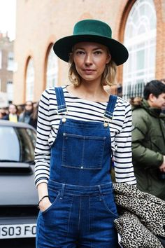 Street Style: Green Hat + Denim Overalls In London