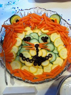 Jungle baby shower veggie plate lion