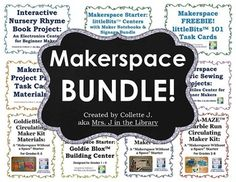 Inspire your students to develop problem solving and critical thinking skills while having fun and being creative!  Start a makerspace!This HUGE bundle is over 210 pages of makerspace lessons, centers, projects, task cards, circulation kits to check out, materials lists, signage, and everything else you need to start a makerspace (also called a maker space or hackerspace or DIY maker center) in your classroom, library, or science lab.