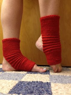 Yoga Socks in Acrylic Wool Blend in True Red -- for Yoga, Dance, Pilates, Pedicures on Etsy, $12.00