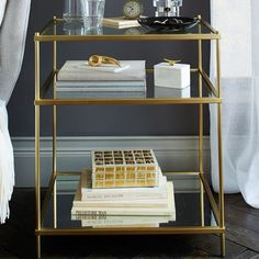 Gold and glass nightstand - Terrace nightstand from West Elm