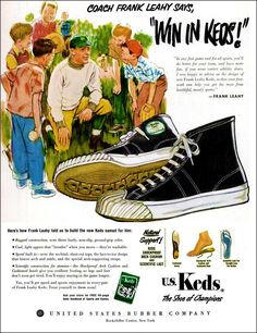 High-top Keds sneakers for healthful, manly sports - Click Americana Vintage Sneakers, Vintage Shoes, Vintage Ads, Vintage Posters, Vintage Stuff, Old Advertisements, Retro Advertising, Retro Ads, Keds Sneakers