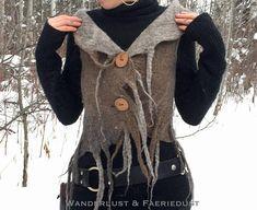 Hooded VEST Wool Felted Vest handfelted Jacket with Elven