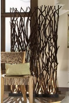 """tree branches as wall divider - for kids church could they be encased in a """"frame"""" on wheels, maybe even incorporate some fun colors?"""