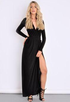 BLACK SLINKY GATHERED GODDESS MAXI DRESS