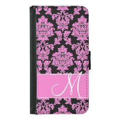 Hot pink glitter damask pattern on black Monogram Samsung Galaxy S5 Wallet Case - hot damask gifts custom personalize