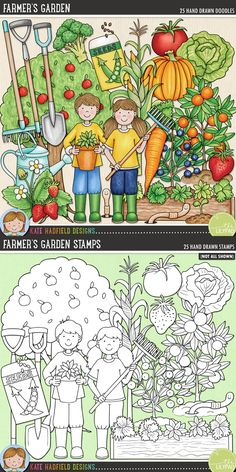 Farmer's Garden is dedicated to all the tireless gardeners out there busy tending their vegetable patches and fruit gardens! Contains the following hand drawn illustrations: apple tree, blueberry plant, boy and girl gardeners, broccoli, carrot, hoe, lettuce, orange tree, pumpkin, rake, 2 seedlings, seed packet and seeds, soil, spade / shovel, strawberry, strawberry plant, sweetcorn plant, tomato, raised vegetable bed, watering can, 2 worms.