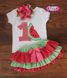 Watermelon First Second Birthday Ruffle Bloomers by MarysBoutique1