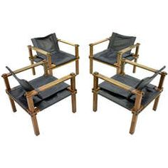 Set of Four Lounge Chairs Leather and Wood by Gerd Lange, Germany, 1965