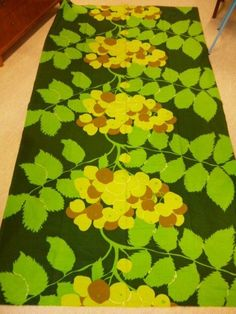 Vintage 70's Big Fabric from Tampella, Finland. Finnish design in greens #Tampella #Treesberries