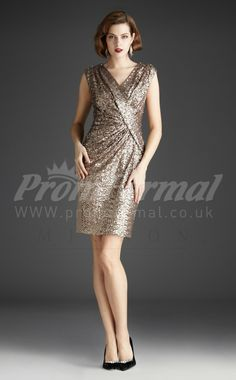 Gold Sequined short prom dresses