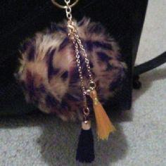 Gold cheetah purse key chain Gold cheetah purse key chain with tassels Homemade  Accessories