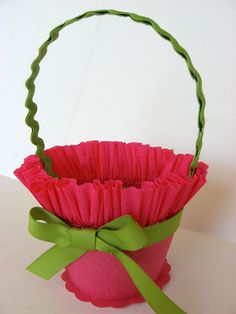 This is the closest picture I could find of the May baskets mom would make. She would gather crepe paper and put around a milk carton and we would fill with goodies and take to school and exchange in the classroom. Spring Crafts, Holiday Crafts, Easter Crafts, Crafts For Kids, Crepe Paper Crafts, May Day Baskets, Fabric Storage Baskets, May Days, Ideias Diy