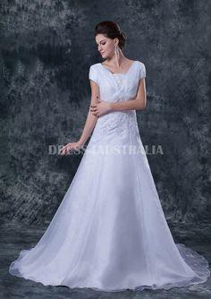 Short Sleeves A-line Applique Waistline Overlay Organza Elegant Style Wedding Dresses / Bridal Gowns 8135007  http://www.dresses4australia.com.au/short-sleeves-aline-applique-waistline-overlay-organza-elegant-style-wedding-dresses-bridal-gowns-8135007-p-3323.html