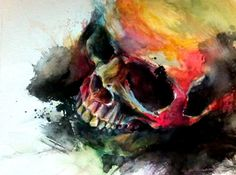 Amazing watercolour    #watercolour #skull #illustration