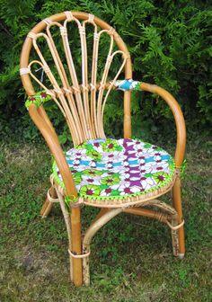 Chaise rotin vintage wax