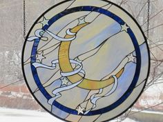 Round Stained Glass Flying Crescent Moon with Ribbons Panel