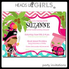 Set of 12 Personalized Pirate Girls Birthday Party by HeadsUpGirls, $18.00