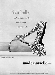 """""""Pins 'n Needles"""" Mademoiselle Shoes, 1951. Photo by Mark Shaw"""