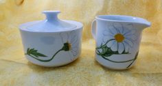 Vintage Vera for Mikasa, Daisies Sugar Bowl and Creamer Set L1062, 1970s Vera Neumann, Mod Graphics, Fresh Floral Home Decor by Duckwells on Etsy