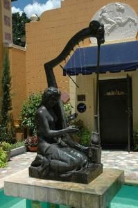 Sulprure by Albin Polasek. Water fountain of his wife playing the harp, lovely in person, bc the water makes the music
