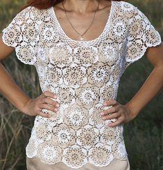 Graph for motif but no instructions to piece together. Filet Crochet, Irish Crochet, Crochet Lace, Crochet Stitches, Bikinis Crochet, Crochet Summer Tops, Crochet Shirt, Crochet Poncho, Poncho Tops