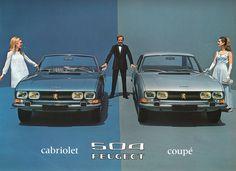 Peugeot 504 Cabriolet & 504 Coupe de 1969. Trouvez une belle occasion Peugeot en consultant nos offres http://www.autobernard.com/voiture-occasion/peugeot
