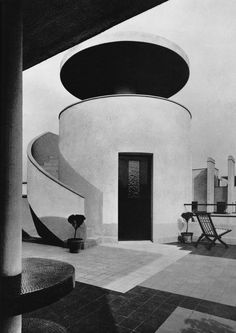 A cylindrical belvedere on the rooftop terrace of Villa Martel by Robert Mallet-Stevens, 1926-1927, Paris. Photo courtesy of House & Garden, April, 1985. / The Art of The Room