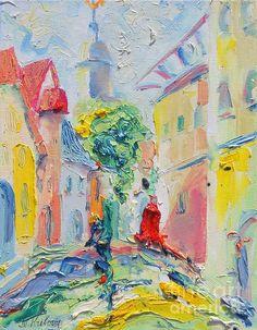 Old Riga in sunny morning by Tatjana Krilova Riga, Sunnies, Greeting Cards, Wall Art, Oil Paintings, Canvas, Tela, Sunglasses, Canvases