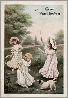 van Houten cacao - vintage cocoa advertising - girls playing and terrier dog