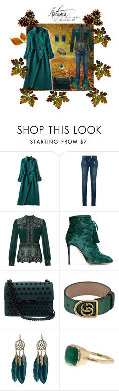 """""""Green Fall Style"""" by rebeccadavisblogger on Polyvore featuring Balmain, Miss Selfridge, Aquazzura, Foley + Corinna, Gucci, WithChic and Cole Haan"""