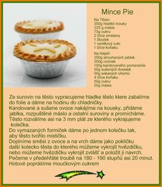 Recept na mince pie (cesky) Cupcake Cakes, Cupcakes, Czech Recipes, Christmas Candy, Christmas Recipes, Mince Pies, Muffin, Treats, Breakfast