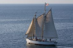 The Edith M. Becker, a traditional gaff rigged wooden schooner which is in the Tall Ship registry, sailing the waters of Door County. She is one of Sail Door County's fleet of sailboats available for Scenic Sailboat Tours out of Sister Bay, WI. Call (920) 495-7245 to book a sailing tour with us!