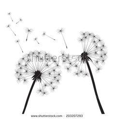 black vector dandelions on white background