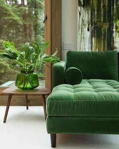 """CLAUDIA (@revistacasaclaudia) en Instagram: """"O veludo no decor deixa qualquer ambiente lindo e sofisticado. O que dizer desse sofá verde?…"""""""