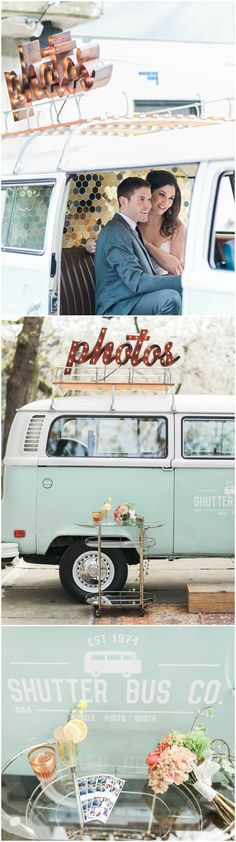 Wedding reception photo booth bus, Shutter Bus Company, vintage van // B. Jones Photography